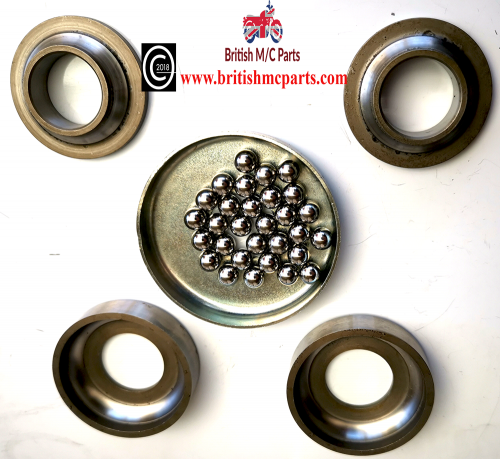 Triumph Steering Head Cup And Cone Bearing Set - Fits T15, T20  Models Years 1954-68.