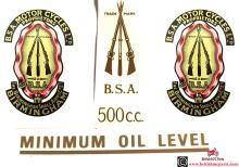 BSA A7Transfers-Decals Rear No. Plate 500cc Minimum Oil Toolbox Garter (2) Off