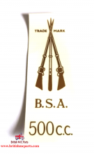 BSA  A7 - 500cc Arms Rear Number Plate Transfer 1941