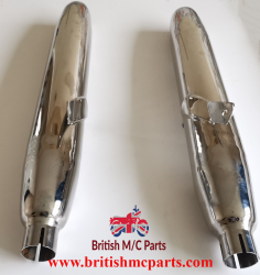 SILENCERS Royal  Enfield Meteor, Interceptor series 1 Chrome Part No.45083.UK Made