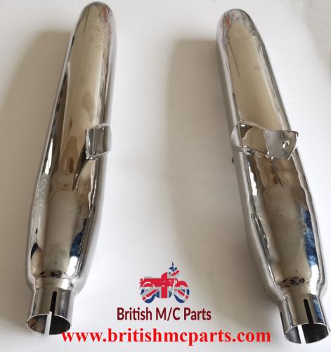SILENCERS Royal  Enfield Meteor, Interceptor series 1 Chrome Part No.45083.UK Made