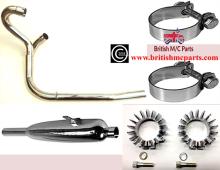Complete Siamese Exhaust System Triumph 3/5TA, T90 T100A, 70-3992/4 70-4157