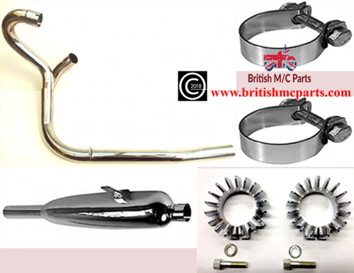 Complete Siamese Exhaust System Triumph 3/5TA, T90 T100A, 70-3992/4 70-4157