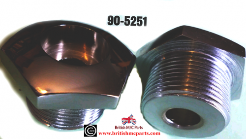 Top Nuts,BSA BANTAM D7 D10 D14 FORK STANCHION TOP NUTS (Pair).CHROME, 90-5251